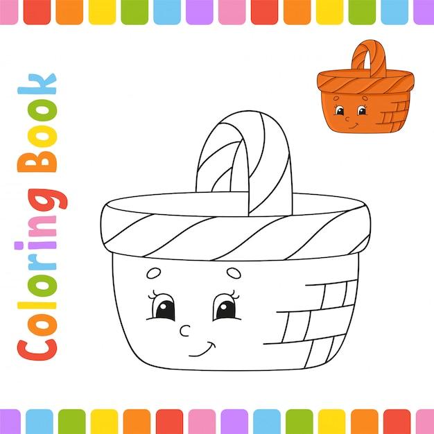 Livro de colorir para crianças. personagem alegre cesta de madeira. Vetor Premium