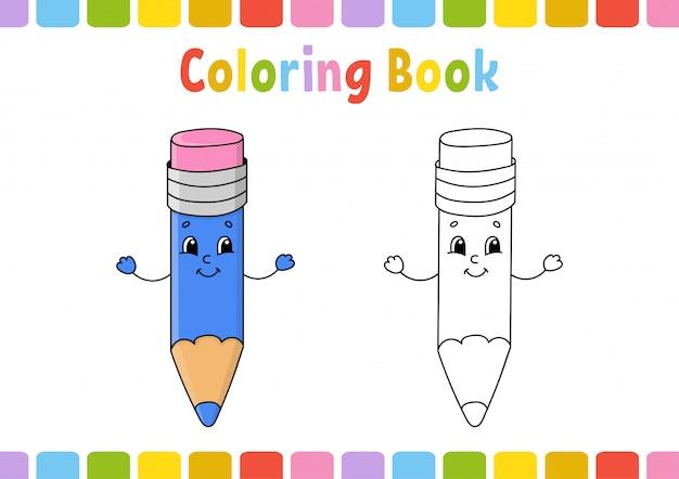 Livro de colorir para crianças. personagem alegre Vetor Premium
