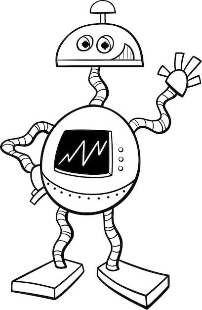 Livro De Colorir Robo Ou Droid Vetor Premium