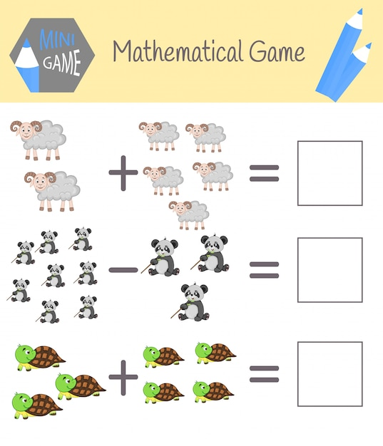 Livro de exercícios de matemática para educação pré-escolar. quebra-cabeças para crianças. aprenda a contar. resolver exemplos Vetor Premium