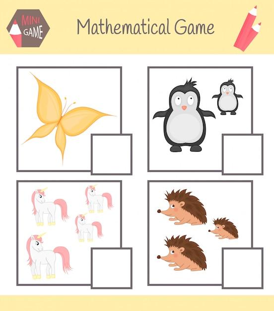 Livro de exercícios sobre matemática para educação pré-escolar. quebra-cabeças para crianças. aprenda a contar. resolva exemplos Vetor Premium