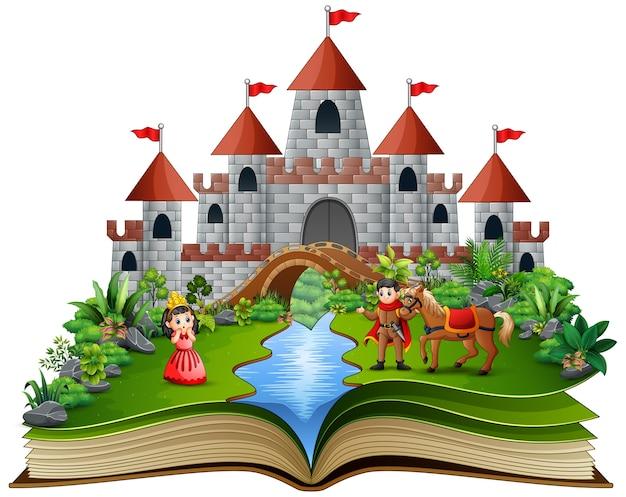 Livro de história com princesas dos desenhos animados Vetor Premium