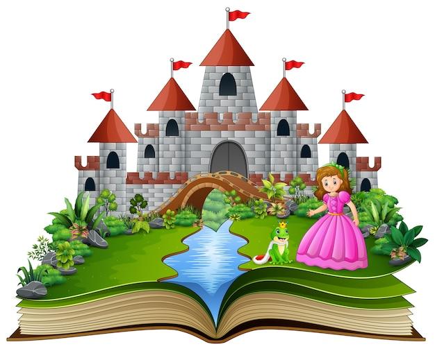 Livro de histórias de princesa e sapo príncipe dos desenhos animados Vetor Premium