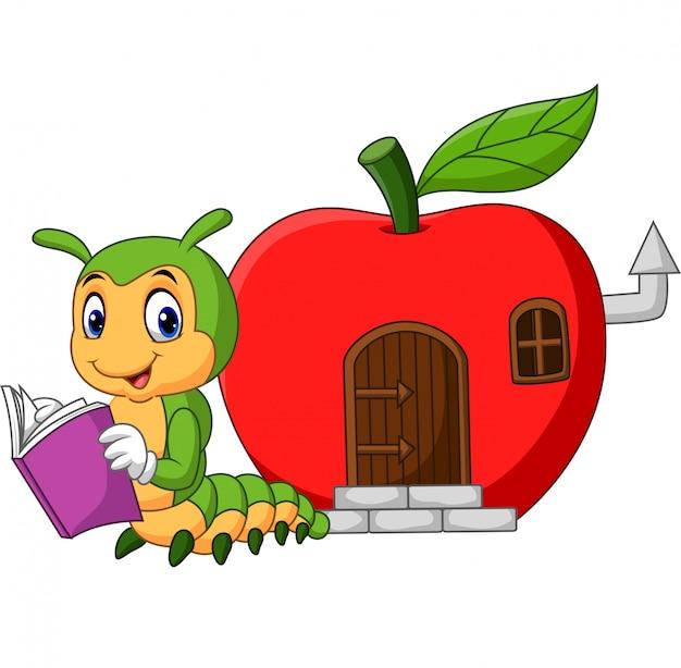 Livro de leitura de lagarta engraçado dos desenhos animados Vetor Premium