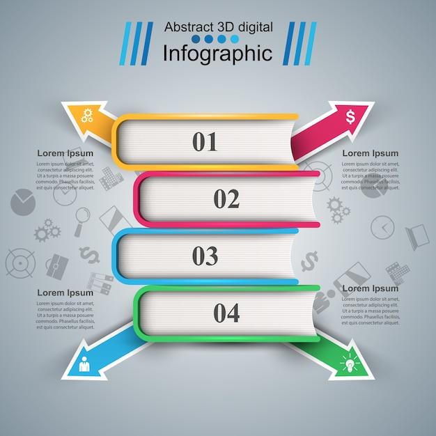 Livro de papel - infografia de negócios. Vetor Premium
