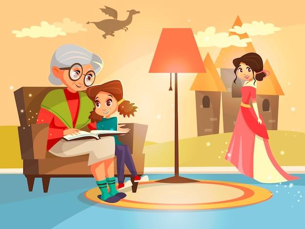 Livro do conto de fadas da leitura da avó ao miúdo da menina que senta-se na poltrona. Vetor grátis