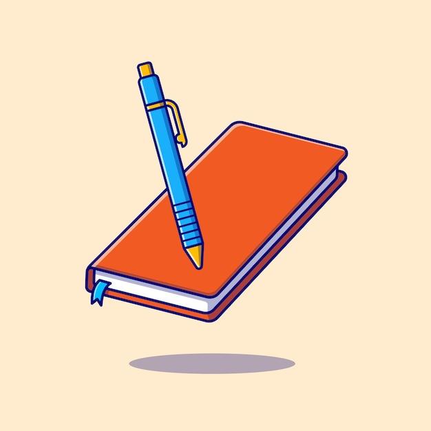 Livro e caneta dos desenhos animados ícone ilustração. conceito de ícone de objeto de educação isolado. estilo flat cartoon Vetor grátis