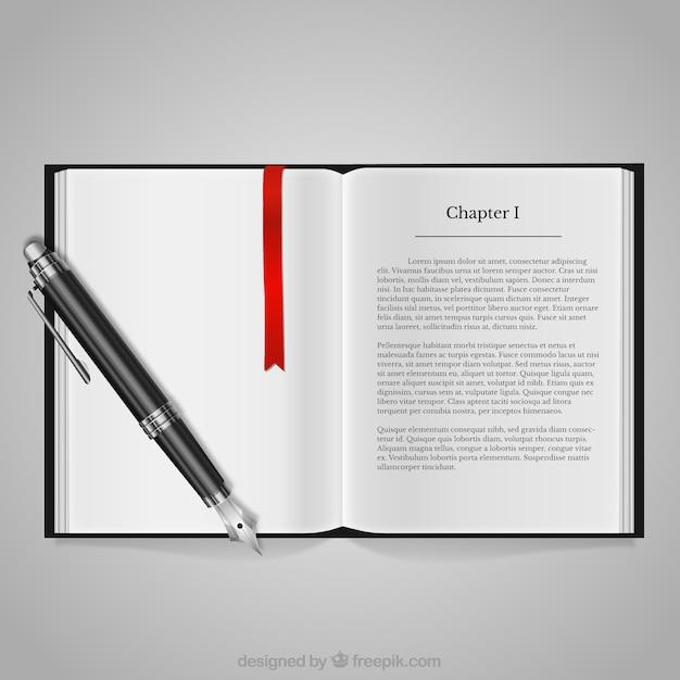 Livro e caneta-tinteiro Vetor grátis