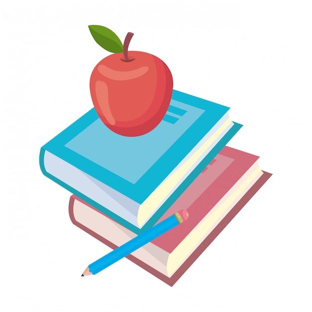 Livro isolado e apple de ilustração em vetor escola design Vetor Premium