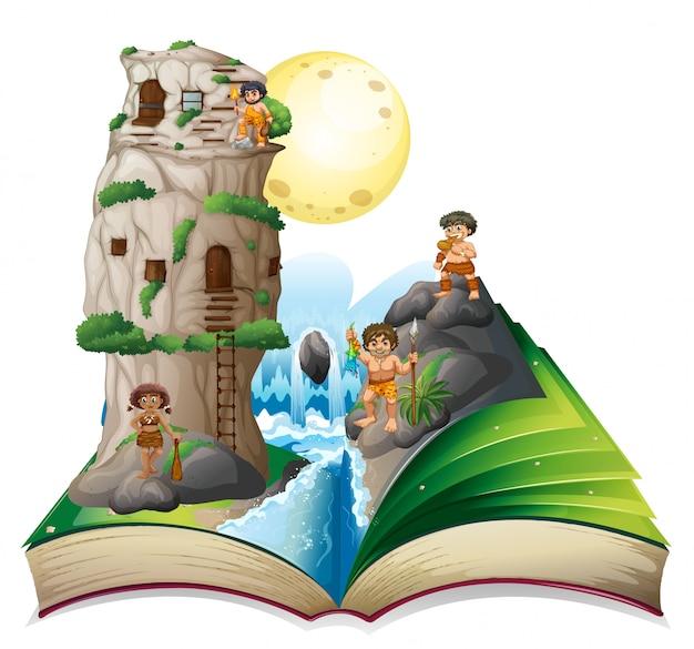 Livro mágico de pessoas da caverna pela cachoeira Vetor Premium