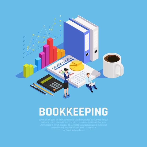 Livro mantendo composição isométrica com documentação de gráficos e contadores durante o trabalho em azul Vetor grátis