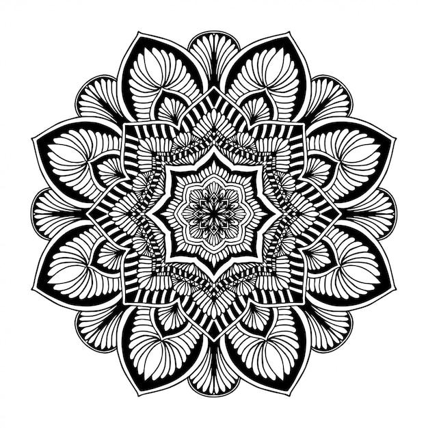 Livro para colorir das mandalas, forma da flor, terapia oriental, vetor dos logotipos da ioga. Vetor Premium