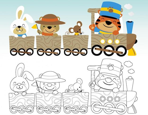 Livro para colorir ou página com animais engraçados Vetor Premium