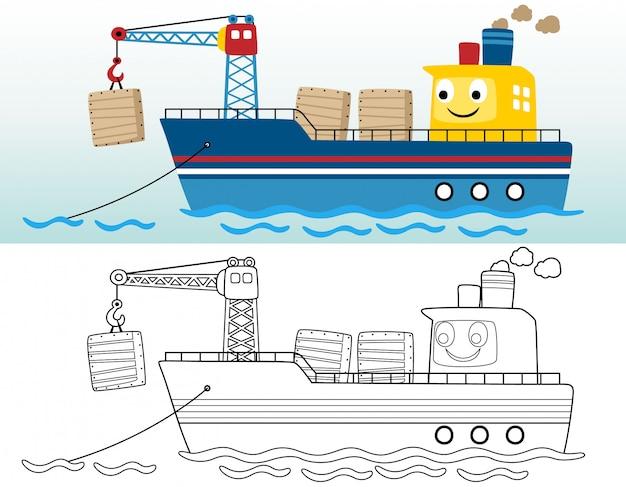 Livro para colorir ou página com cargueiro engraçado Vetor Premium