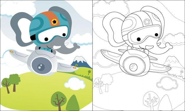 Livro para colorir ou página com desenho de elefante engraçado no avião Vetor Premium