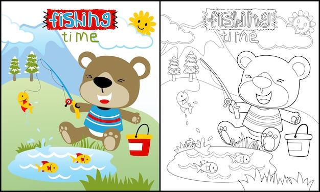 livro para colorir ou página com desenhos animados animais fofos