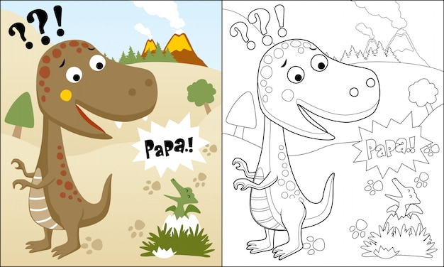Livro para colorir ou página de dinossauros engraçados dos desenhos animados Vetor Premium