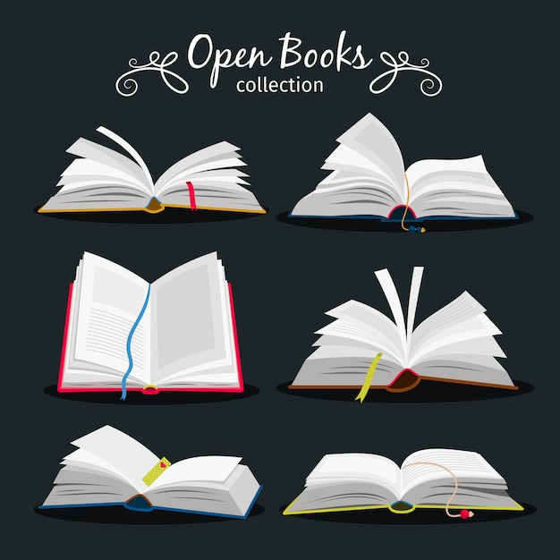 Livros abertos. n Vetor Premium