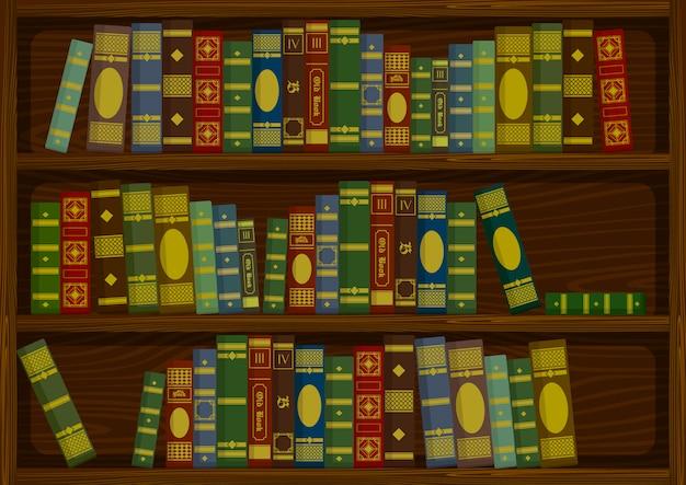 Livros antigos vintage na prateleira de madeira da ilustração em vetor estoque vista lateral Vetor Premium