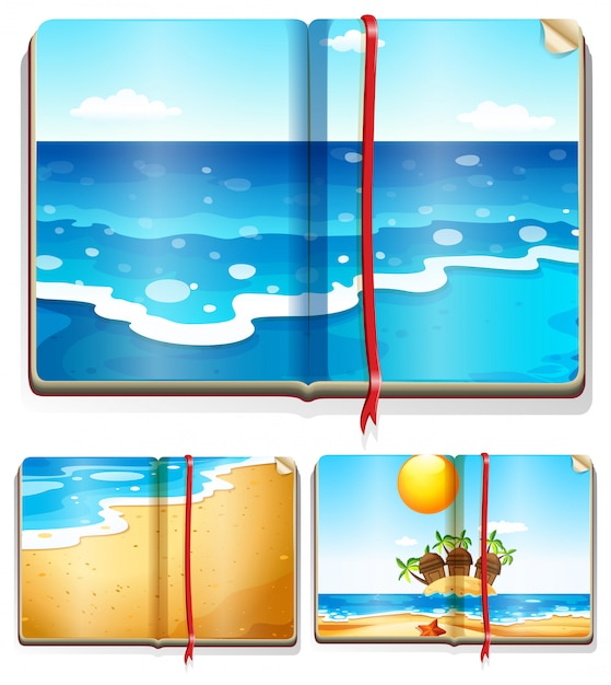 Livros com cenas do oceano Vetor grátis