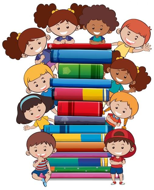 Livros com crianças no fundo branco Vetor grátis