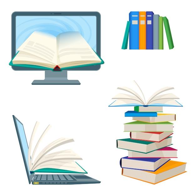 Livros de enciclopédia on-line Vetor Premium