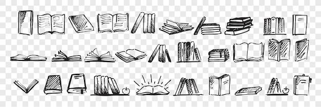 Livros de mão desenhada doodle conjunto Vetor Premium