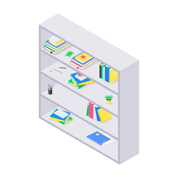 Livros e chancelaria na estante de madeira cinza em isométrico Vetor Premium