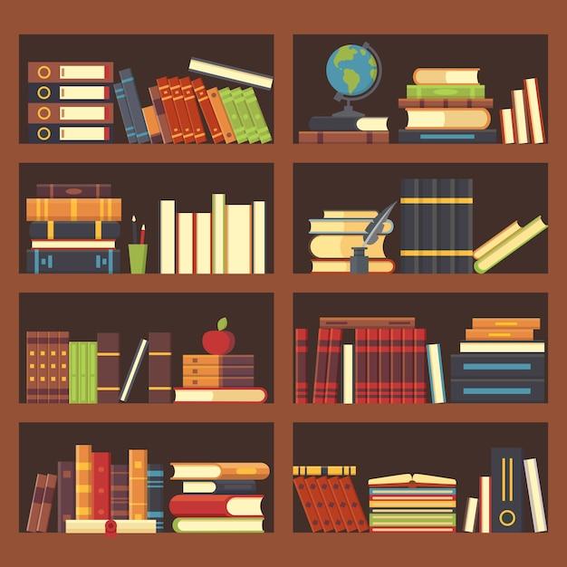 Livros na estante da biblioteca. Vetor Premium
