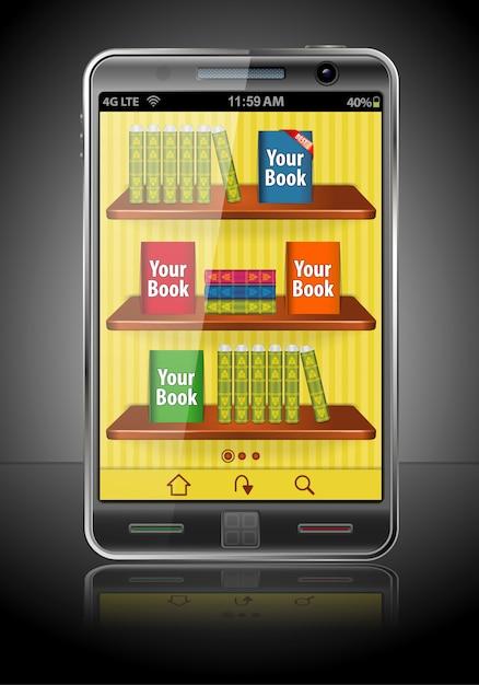 Livros no smart phone Vetor Premium