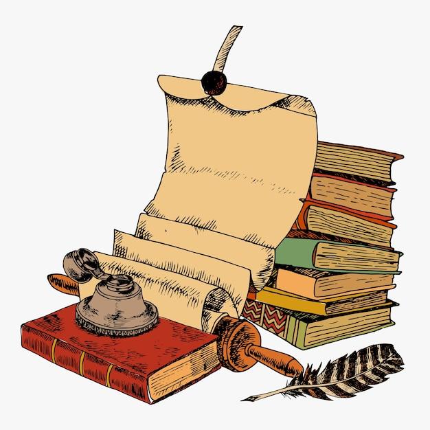 Livros vintage com pano de papel e pote de tinta colorido esboço decorativo conceito ilustração vetorial Vetor grátis