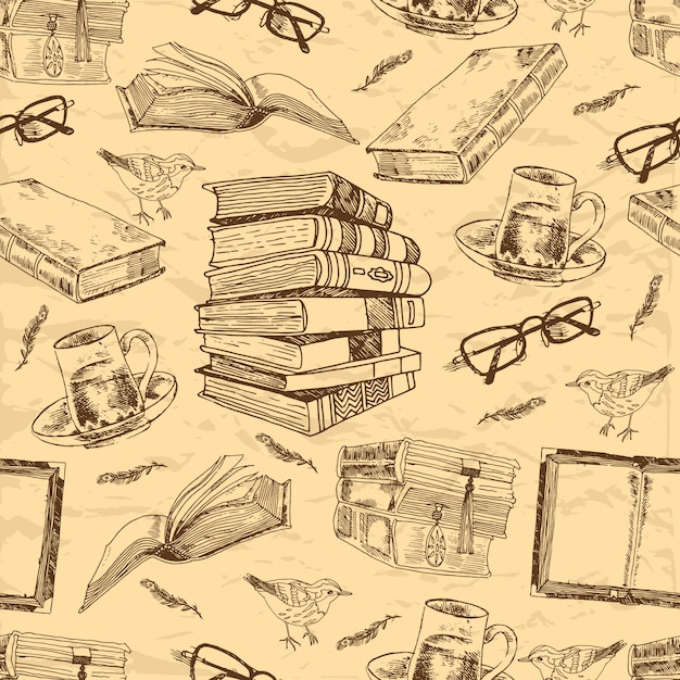 Livros vintage esboçar padrão sem emenda com xícara de chá de penas de pássaro e ilustração vetorial de óculos Vetor Premium