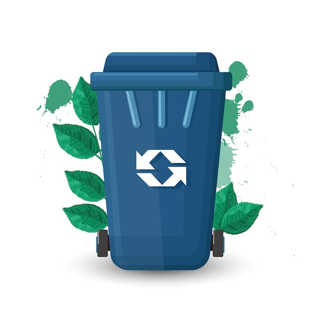 Lixeira azul com tampa e placa de ecologia. folhas verdes no fundo Vetor grátis