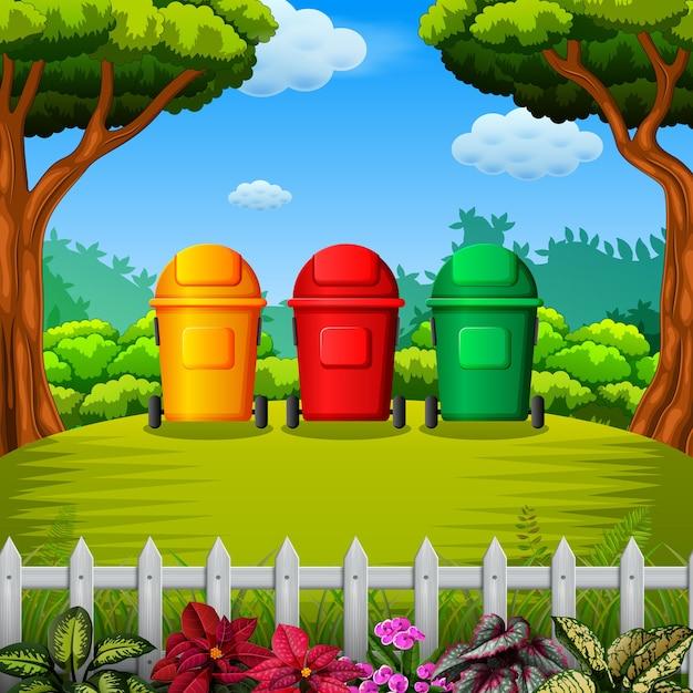 Lixeira colorfull com vista para o jardim Vetor Premium