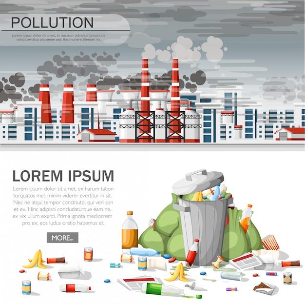 Lixeira transbordando. problema ecológico, ar poluído, dano ambiental. conceito ecológico para site ou publicidade. ilustração em fundo branco Vetor Premium