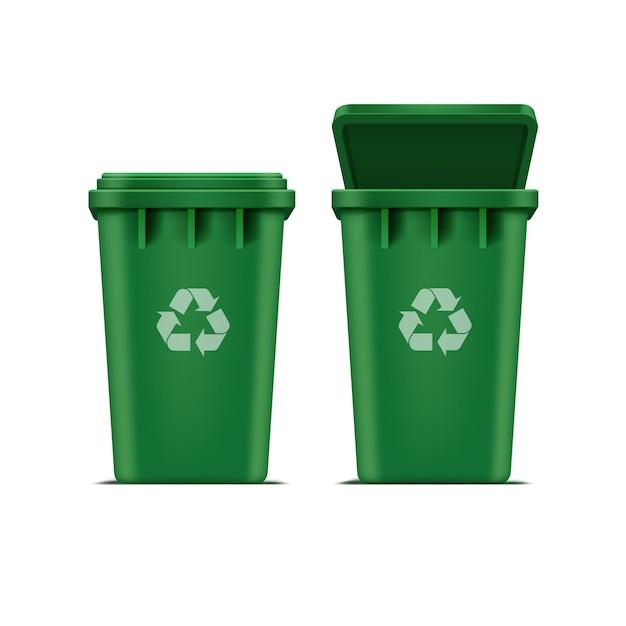 Lixeira verde para lixo e lixo isolado no fundo branco Vetor Premium