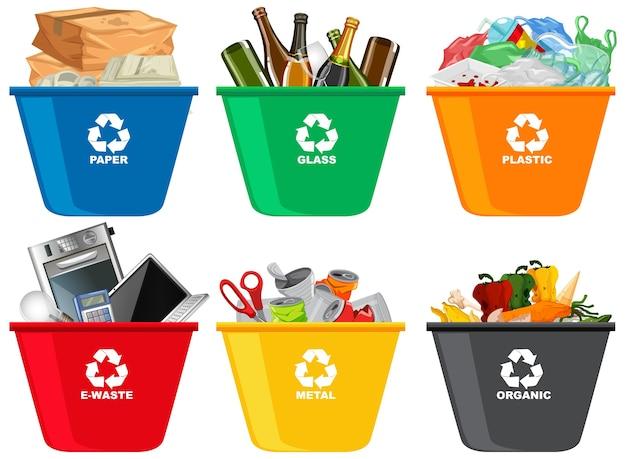 Lixeiras coloridas com símbolo de reciclagem isolado no fundo branco Vetor grátis