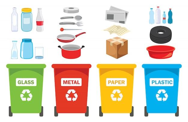 Lixeiras para plástico, metal, papel e vidro Vetor Premium