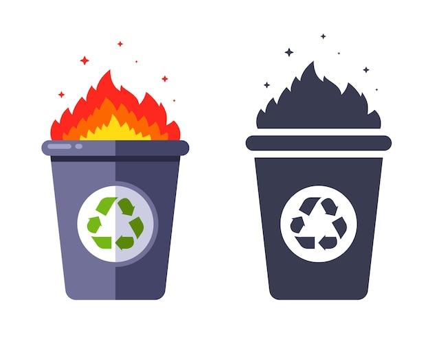 Lixo aceso na lata de lixo. incineração de resíduos. ilustração plana. Vetor Premium