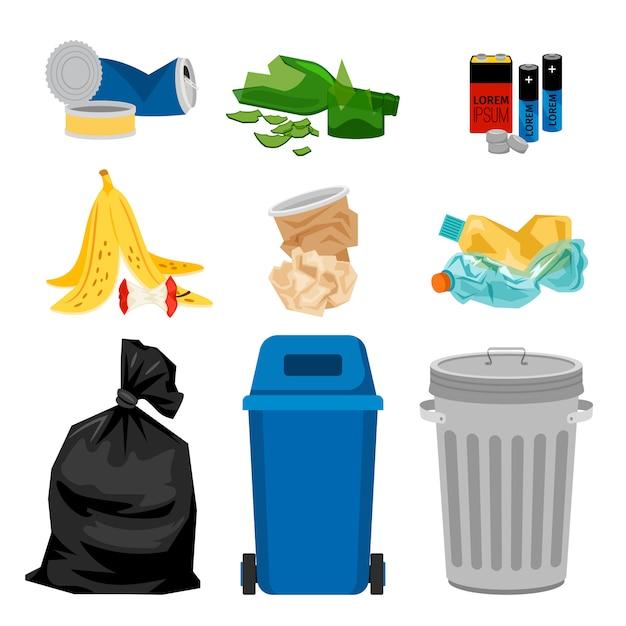 Lixo conjunto com caixas de lixo Vetor Premium