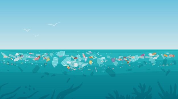 Lixo de poluição de plástico na superfície do mar com diferentes tipos de lixo Vetor Premium