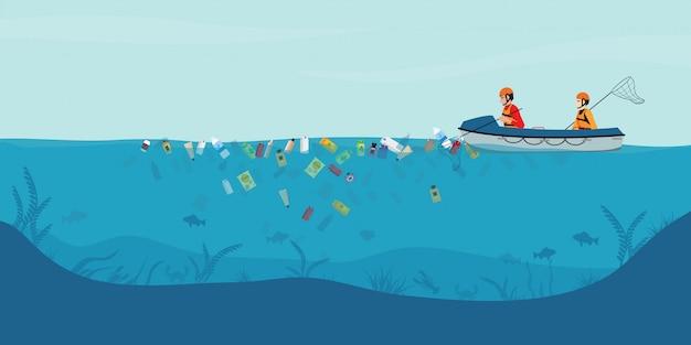 Lixo flutuando na água, voluntários masculinos vasculham o mar ou o oceano no barco. Vetor Premium