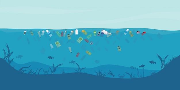 Lixo flutuando na água. Vetor Premium
