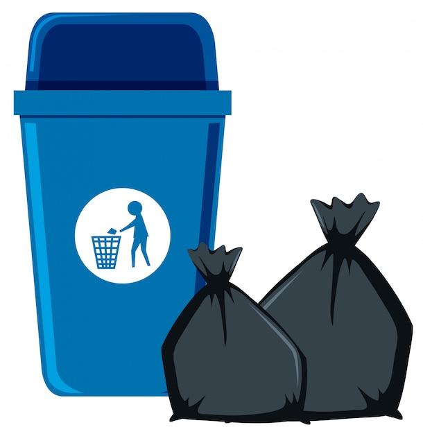 Lixo isolado e lata de lixo Vetor Premium