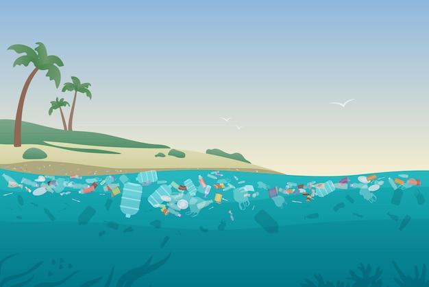 Lixo marinho em águas poluídas, praia oceânica suja com plástico de lixo na areia e sob a superfície da água Vetor Premium