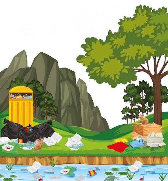 Lixo na cena do parque Vetor grátis