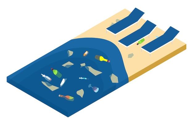 Lixo no mar e na praia, conceito isométrico de poluição do oceano Vetor Premium