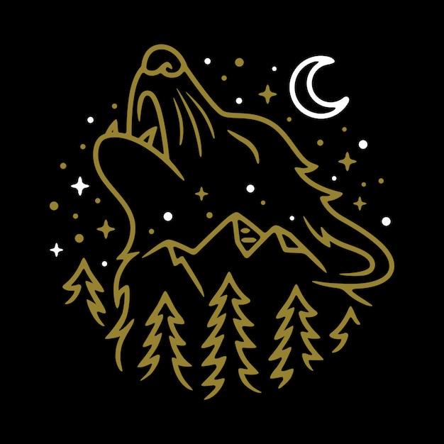 Lobo animal noite linha gráfico ilustração arte vetorial design t-shirt Vetor Premium