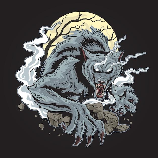 Lobo assustador do horor o dia das bruxas Vetor Premium