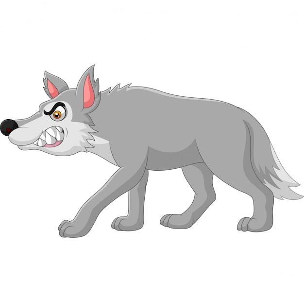 Lobo com raiva dos desenhos animados, isolado no branco Vetor Premium